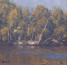 "Murray River Bank by Warwick Fuller oil on board 12"" x 12"""