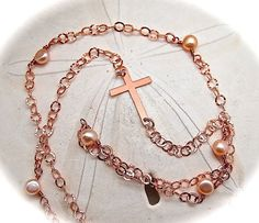 Pearl and Rose Gold Cross Necklace, Long Necklace, Pearl Necklace, Rose Gold Necklace, Christian Jewelry
