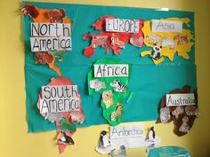 Finished animals of the continents map! Continents Activities, Geography Activities, Ocean Activities, Teaching Geography, Animal Activities, Montessori Activities, Activities For Kids, Continents And Oceans, 3rd Grade Social Studies