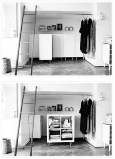 storage solution: ikea hack ~ shelving on rollers slid in sideways for deep top. storage solution: ikea hack ~ shelving on rollers slid in sideways for deep top. Ikea Storage, Storage Hacks, Cube Storage, Storage Solutions, Storage Ideas, Book Storage, Smart Storage, Book Shelves, Storage Room