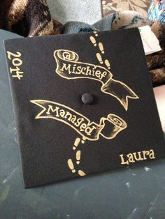 Mischief Managed... a graduation cap hand painted in metallic gold for my friend Laura Humrichouse... Harry Potter fans will love