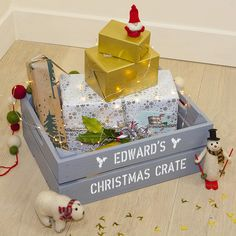 Medium Personalised Christmas Gift Crate