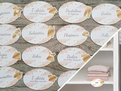 Labels to fix on baby Cabinet shelf boards to classify by type of clothing Baby Cupboard, Cupboard Shelves, Bodies, Closet Labels, Shelf Board, Birth Gift, Pink Themes, Leggings, What To Make