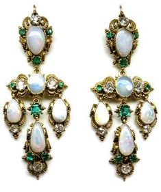 Pair of 19th century opal, emerald and diamond filigree pendant earrings, c.1840. S.J. Phillips Ltd.