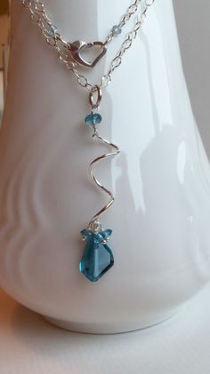 AAA London Blue Topaz Gemstone Wire Wrapped on Sterling by kkswede, $79.00