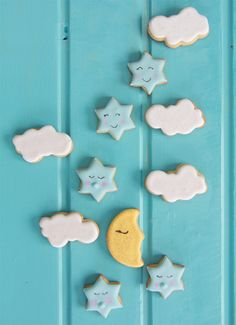Moon, Star and Cloud Cookies