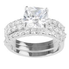 4 3/5 CT. T.W. Round-Cut CZ Basket Set Wedding Ring Set in Sterling Silver - Silver, 7, Women's