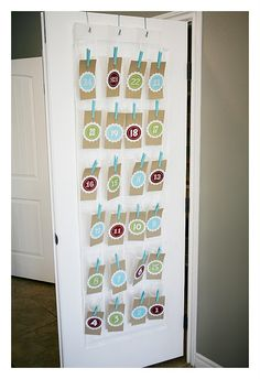 Shoe organizer Advent calendar with clothespins