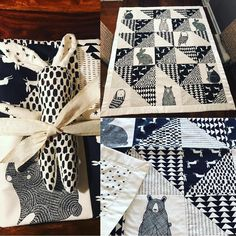 """Stacie Bloomfield for Gingiber on Instagram: """"When I saw this quilt pop up on Instagram (made by @ani_328) I fell in love! The way she mixed my """"Thicket"""" for @modafabrics animal panels with the monochrome accent patterns is so gorgeous! She also mixed """"Thicket"""" with some @cottonandsteel patterns, and it is just so lovely! I not so secretly want a blanket just like this for myself! Now I just need to make some more time to do some sewing! #showmethemoda #modernquilting #blackandwhite"""""""
