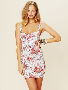 Free People Printed French Terry Slip Dress - really like the shape of this dress and the stretchiness but needs to be longer (date night)