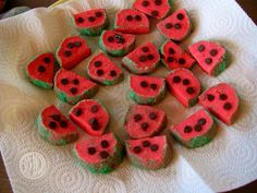 picnic themed party - watermelon cookies