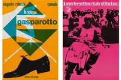 Left: Heinz Waibl, Calzaturificio Gasparotto Bassano del Grappa, 1959, offset print on paper, 68x47cm. Right: Heinz Waibl, Lambretta club d'Italia, Milan, 1959, offset print on paper, 67,5x47cm