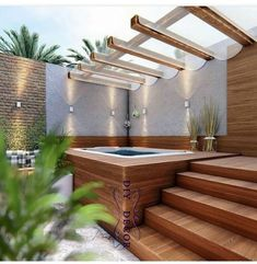 40 Lovely Jaccuzzis Ideas - When people refer to a hot tub or a spa, they often think of the word Jacuzzi. The terms are often used interchangeably but Jacuzzi is actually a bran. Hot Tub Gazebo, Hot Tub Deck, Hot Tub Backyard, Small Backyard Pools, Backyard Patio, Backyard Landscaping, Landscaping Design, Indoor Pools, Lap Pools