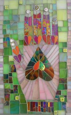 Heart in hand stained glass