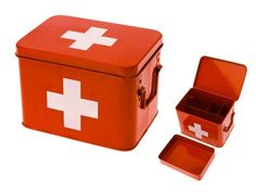 Present Time Red with White Cross Metal Medicine Storage Box, Medium