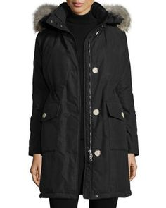 Long+Hooded+Arctic+Parka+Coat+w/+Coyote+Fur,+New+Black+by+Woolrich+at+Neiman+Marcus.