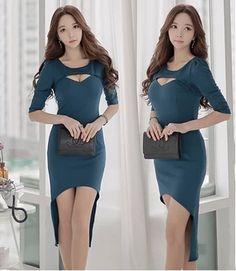 $20.40 #Korean Design O Neck #PiercedBlue #LongDresses