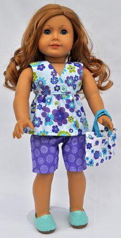 Let's Play Dolls Wrap Top & Shorts Panel Aqua
