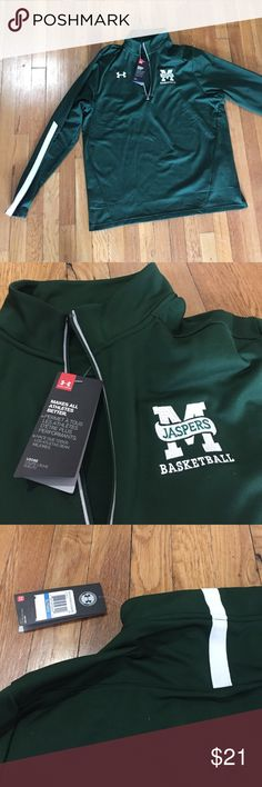 Manhattan College Basketball jacket NWT UnderAmour Forest green and brand new, track jacket that cheers on the Manhattan college basketball team, the Jaspers! Just in time for the season! Never been worn, tags attached! Perfect gift for friend or family that is a Manhattan student or alum, or fan! Under Armour Jackets & Coats