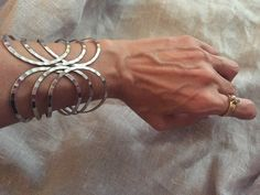 Silver Modernist Cuff  large modern bracelet  boho by TroppoBella