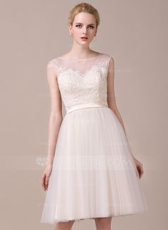 A-Line/Princess Scoop Neck Knee-Length Tulle Charmeuse Lace Wedding Dress (002059207) - JJsHouse