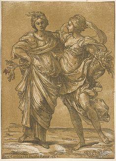 "Bartolomeo Coriolano (Italian, ca. 1599). After Guido Reni (Italian, 1575).  ""Alliance of Peace and Abundance"" (after Guido Reni), 1642."