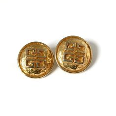 Givenchy Vintage Gold Tone Statement Clip On Earrings Designer Jewelry, Jewelry Design, Vintage Jewellery, Unique Jewelry, Clip On Earrings, Givenchy, Cufflinks, French, Jewels