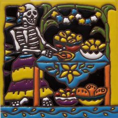 Day of the Dead Mexican Tiles Mexican Tiles San Diego California Tiles For Sale, Mexican Ceramics, Day Of The Dead, Bowser, Mexican Tiles, Front Stairs, San Diego, California, Boho