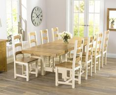 Buy the Marlow 180cm Oak and Cream Extending Dining Table with Marlow Chairs at Oak Furniture Superstore