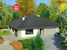 Projekt Dom przy Słonecznej 7 zawiera układ pomieszczeń sprawdzony w projekcie Dom przy Słonecznej 2, ale w powiększonym rozmiarze oraz większy - dwustanowiskowy garaż. Dom ten przeznaczony jest do lokalizacji na działkach z wjazdem od strony południowej (także od południowo-wschodniej i w odbiciu lustrzanym od południowo-zachodniej). Bungalow House Design, Future House, Gazebo, House Plans, New Homes, Outdoor Structures, Cabin, How To Plan, House Styles