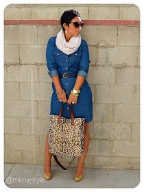 I have a denim shirt dress I was going to get rid of. This post just gave it new life! Look Fashion, Autumn Fashion, Girl Fashion, Womens Fashion, Chic Outfits, Fall Outfits, Fashion Outfits, Fashion Trends, Casual Chic