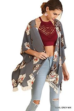 Umgee Women s Open Front Floral Print Kimono Short Sleeve Cardigan R7522 at Amazon  Women s Clothing store  5f71d79fe
