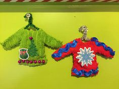 Homemade Ugly Sweater Christmas Ornament Set of 2 by PeachyLadyDesigns on Etsy