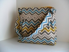 Large Diaper Bag  Made of Chevron Fabric in Natural Colors - Adjustable Strap. $64.00, via Etsy.