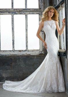594038ae7e5 Mori Lee Size 12 Wedding Dress 8205 Ivory Cream Fit  amp  Flare Elegant  Lace NWT
