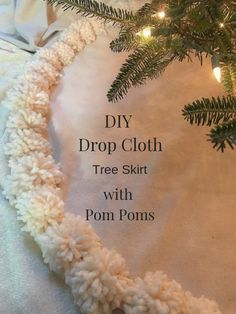 See how you can DIY your own drop cloth tree skirt. No fancy tools or skills needed. Just a drop cloth scrap yarn and plently of hot glue. Diy Christmas Tree Skirt, Xmas Tree Skirts, Handmade Christmas, Christmas Crafts, Christmas Decorations, Christmas Clothes, Christmas Outfits, Drop Cloth Projects, Diy Projects