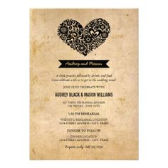 Simple and cute wedding rehearsal and dinner invites feature a floral heart, monogram banner, a unique creative wording intro, modern type, and a pattern of flowers on the back. Black design and text on rustic burlap or antique parchment paper textured look background. CLICK HERE to view other rehearsal dinner invitation designs by Plush_Paper. #wedding #rehearsal #dinner #modern #poem #verse #heart #love #monogram #whimsical #chic #banner #cute