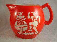 "CREAM MILK PITCHER Czech Pottery Polka Pattrn Red 41/2"""
