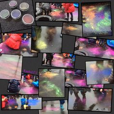 """Outdoor 'fireworks' (powder paint, brushes and rain) from Rachel ("""",)"""