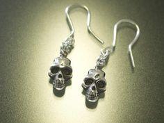 プレミアム ピュアシルバー(Ag999) スカル フックピアス - inGod jewels