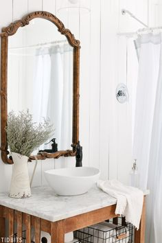 Tour our cottage farmhouse bathroom Spring refresh | by TIDBITS