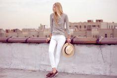 White jeans/grey sweatshirt/docksiders/straw hat