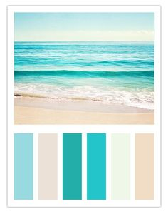 "Teal Beach Color Scheme Inspired by Carolyn Cochrane's Ocean Photograph, ""Summer's Dream"" bathroom colors for beach house Beach Color Schemes, Beach Color Palettes, Brown Color Schemes, Ocean Color Palette, Coastal Colors, Bright Colors, Colours, Ocean Blue Paint Colors, Beachy Colors"