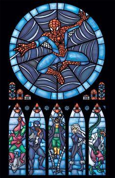 Spider-Man stained glass window by Merissa Garner. $15
