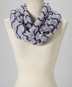 Look what I found on #zulily! Pink & Navy Three-Stripe Zigzag Infinity Scarf #zulilyfinds