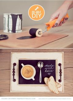 Love this idea--An old large picture frame... turned into a cute breakfast tray.  Paired with a chalk written love note--a surprise any woman would love to wake up to!