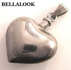 VINTAGE SIGNED MEXICO 925 STERLING SILVER PUFFED HEART PERFUME BOTTLE PENDANT  #TAXCO