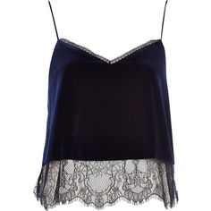 River Island Navy velvet lace cami top (265.925 IDR) ❤ liked on Polyvore featuring tops, shirts, tank tops, crop tops, sale, black tank, black crop tank, crop top, lace tank and lace camisole