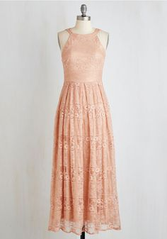 With Style and Lace Dress in Peach by Eva Franco - Blush, Solid, Cutout, Lace, Wedding, Bridesmaid, Sleeveless, Lace, Long, Knit, Maxi, Pastel, Valentine's, Prom, Homecoming