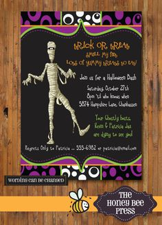 Halloween+Party+Invitation++Walking+Mummies++by+TheHoneyBeePress,+$15.00